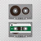 Retro Audiocassettevector Realistische Vectorcassette die op Transparante Achtergrond wordt geïsoleerd stock illustratie
