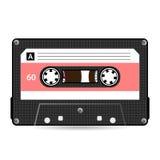 Retro- Audiokassetten-Vektor Plastikaudiokassette Alte Technologie, realistische Design-Illustration Lokalisiert auf weißem backg Lizenzfreie Stockfotos