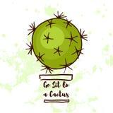 Retro- Aufkleber mit kalligraphischen Elementen Gehen Sit On ein Kaktus lizenzfreie abbildung