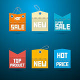 Retro- Aufkleber, Tags. Verkaufsschlager, neuer, Superverkauf, Spitzenprodukt. Lizenzfreie Stockbilder