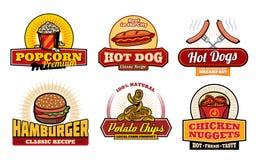 Retro- Ausweise des Schnellimbisses mit Burger und Hotdog Stockbilder