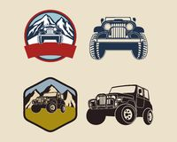 Retro- Ausweise mit Jeep Illustration Stockfoto