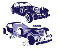 Retro- Auto der vorderen und Seitenansicht und Ansicht von Detailteilen der Maschine - Räder, Kanten, die Haube des Autos Vektor Stockfotos
