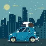 Retro- Auto des Vektors mit Haushintergrund Modisches flaches Design des Tourismus Lizenzfreies Stockbild