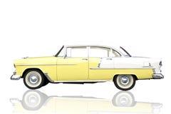 Retro auto die op wit wordt geïsoleerdt. Royalty-vrije Stock Afbeelding