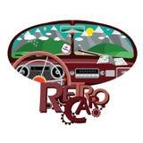 Retro- Auto im vorderen Spiegel Stockbild