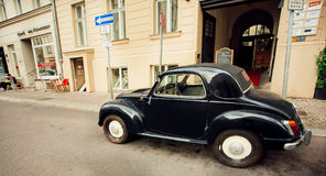 Retro auto made by Fiat company stoped on the empty street Royalty Free Stock Images