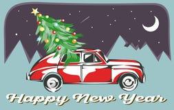 Retro Auto met Kerstboom wordt geladen die Gelukkige nieuwe jaarkaart Vectoreps 10 achtergrond Royalty-vrije Stock Afbeeldingen
