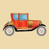 Retro- Auto mit den Scheinwerfern, Horn, Rot mit Gold- und Kupfer elemen Lizenzfreies Stockbild