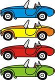Retro auto's van het beeldverhaal Stock Foto's