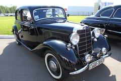 Retro auto show. Black Mercedes-Benz Royalty Free Stock Images