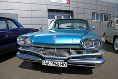 Retro auto show. Blue dodge Stock Photography