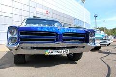 Retro auto show. Blue Pontiac Catalina  Stock Photo
