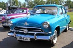 Retro auto show. Blue Volga (Soviet-made automobil Stock Photography