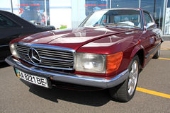 Retro auto show. Red Mercedes-Benz 350 SLC Stock Photos