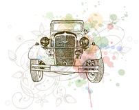 Retro auto sketch & floral ornament Stock Photo
