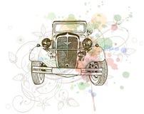 Retro auto sketch & floral ornament Stock Photo