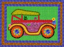 Retro auto van bloemen Stock Afbeeldingen