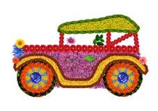 Retro auto van bloemen Royalty-vrije Stock Afbeeldingen