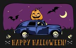 Retro Auto voor Halloween wordt geladen dat Maan en Knuppelsachtergrond Vectoreps 10 Kaart Royalty-vrije Stock Afbeeldingen