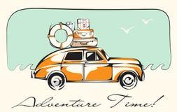 Retro Auto voor het Reizen wordt geladen die Golven en Meeuwenachtergrond Vector illustratie Royalty-vrije Stock Fotografie