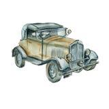 Retro auto watercolor Stock Afbeelding