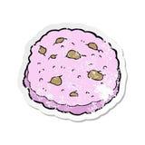 retro autoadesivo afflitto di un fumetto rosa del biscotto illustrazione di stock