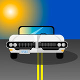 Retro automobile bianca su una strada Royalty Illustrazione gratis