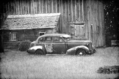 Retro automobile in bianco e nero Immagine Stock Libera da Diritti