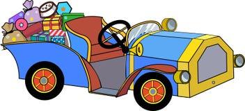 Retro automobile con i regali Fotografia Stock