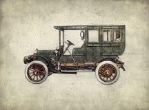 Retro automobile d'annata che cova il disegno della mano Automobile antica verde illustrazione di stock