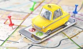 Retro automobile gialla del taxi sullo schermo del telefono sulla mappa vaga illustrazione 3D illustrazione di stock