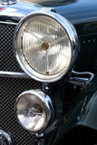 Retro automobile headlight. Vintage black car lights Stock Images