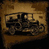 Retro automobile and retro scratch background stock illustration