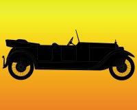 Retro automobile su una priorità bassa arancione Immagini Stock Libere da Diritti