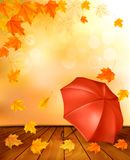 Retro autumn background with colorful leaves Stock Images