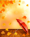 Retro autumn background with colorful leaves Royalty Free Stock Image