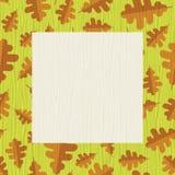 Retro autumn frame with oak leaf pattern Stock Photos