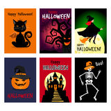 Retro autumn halloween posters stock illustration