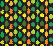 Retro Autumn Leaves Pattern. Leaves of different shapes on black background Royalty Free Stock Image