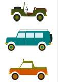 Retro av vägbilar. stock illustrationer