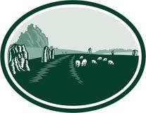 Retro Avebury stenHenge cirkel Arkivbild