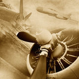 Retro aviation background. Retro aviation collage, old airplanes in grunge style Royalty Free Stock Photography