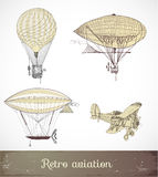 Retro aviation collection, Vector illustration. Stock Photography