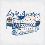 Retro aviation grunge vector design  airplane and wings Royalty Free Stock Images