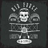 Retro aviation grunge vector design with skull,airplane and wing Stock Photography