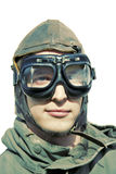 Retro Aviator. Wartime Pilot Portraiture Stylised In Retro Colours Royalty Free Stock Photos