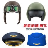 Retro aviator pilot helmet with goggles. Isolated Royalty Free Stock Images