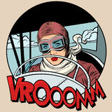 Retro Aviator woman on the plane. Pop art style. Traveler pioneer hero royalty free illustration