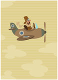 Retro aviatore pilota del fumetto sul suo aeroplano d'annata sul volo Fotografia Stock Libera da Diritti